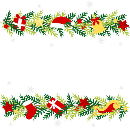 Christmas garland with red and white ornament - colorful