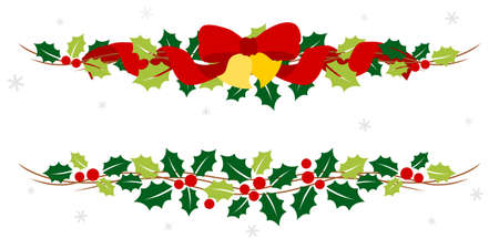 Christmas garland with holly and ribbon - colorful