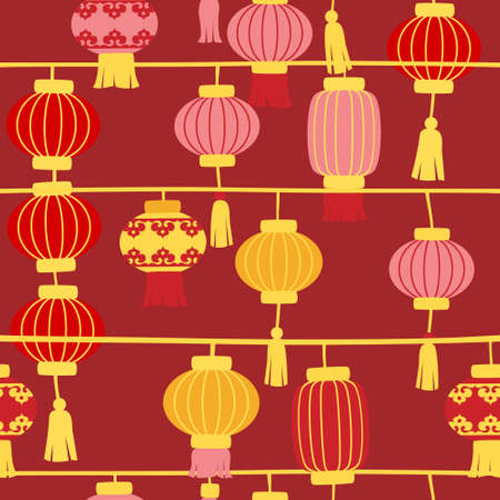Chinese new year lanterns on red background - seamless Stock Illustratie