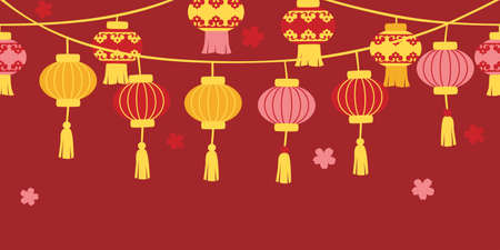 Chinese new year lanterns on red background - loop