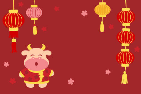 Chinese new year with lanterns and ox on red background Illustration