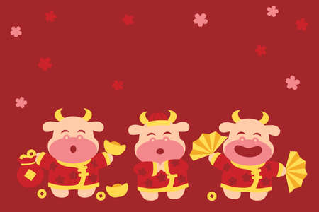 Chinese new year background with fun oxen