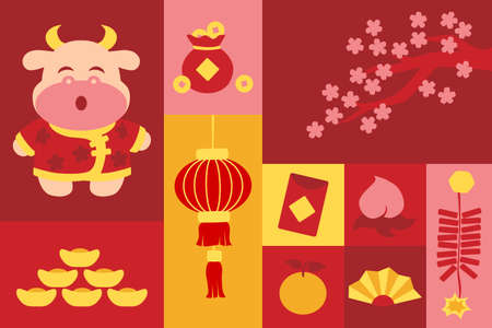 Chinese new year symbol in square frame