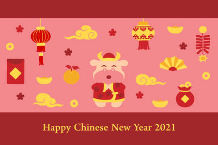 Chinese new year card with ox - colorful Illustration