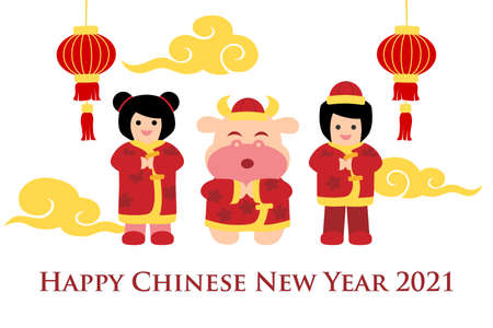 Chinese new year card with boy, girl and ox - colorful Stock Illustratie