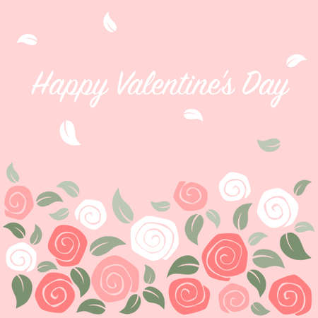 Roses garden card on pink background - valentine day card