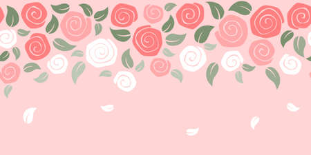 Roses banner on pink background - valentine day