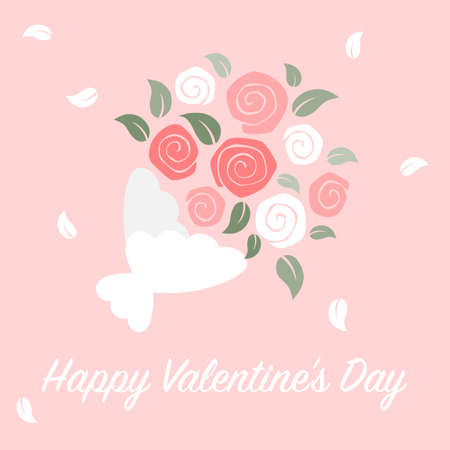 Roses bouquet card on pink background - valentine day