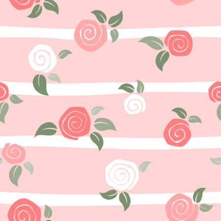 Roses seamless on pink striped background - valentine day