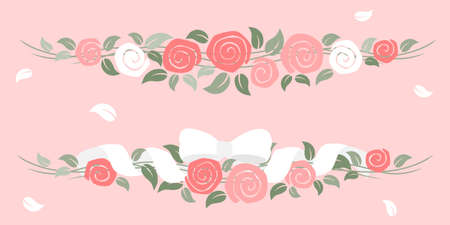 Roses garland with ribbon - valentine day Stock Illustratie