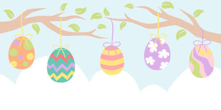 Easter banner with painted egg hanging from tree branches