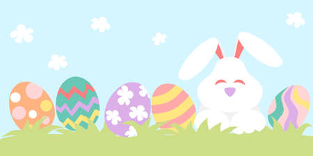 Easter banner with painted eggs and bunny Illustration