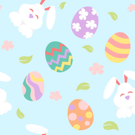 Easter banner with painted eggs and bunny Stock Illustratie