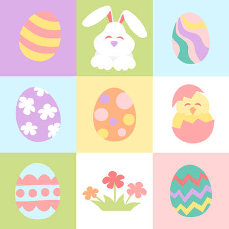 Easter cartoon in square frame - pastel color