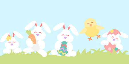 Easter banner with rabbits and chicken