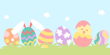 Easter banner with easter eggs and chick