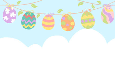 Easter banner with easter eggs Illustration