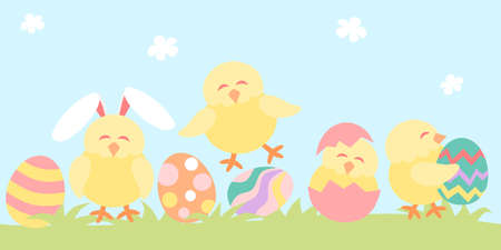 Easter banner with easter eggs and chicken