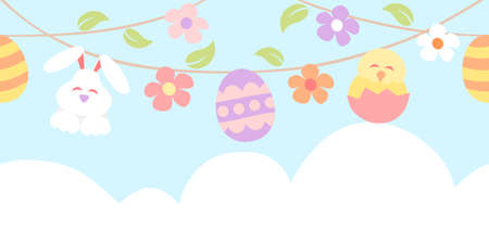 Easter bunting with painted eggs, rabbit and chicken