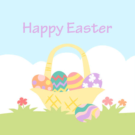 Easter card with painted eggs in a basket