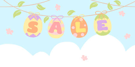 Easter sale bunting with painted eggs