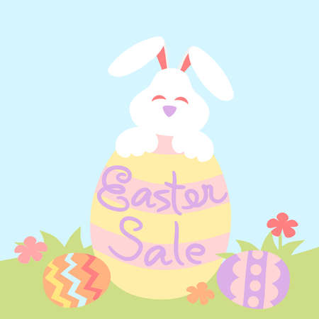Easter sale with painted eggs and rabbit