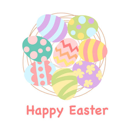 Easter card with painted eggs in a nest