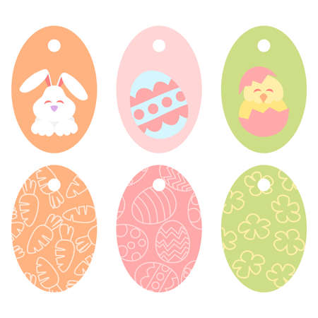 Easter tag with painted eggs, rabbit and chicken Illustration