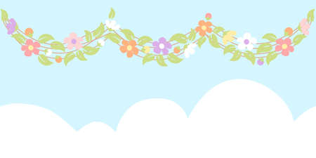 Spring bunting with vine and flower