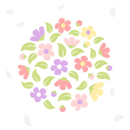 Flower in circle - pastel color Illustration