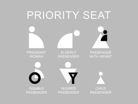 Priority seat icon - pregnant woman, disable passenger and other