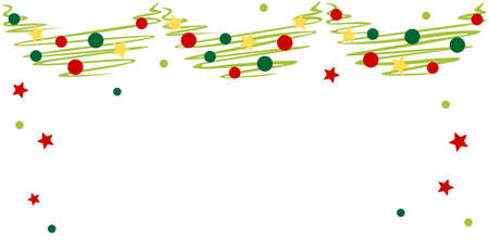 Sketch Christmas garland with ornament - Christmas holiday Illustration