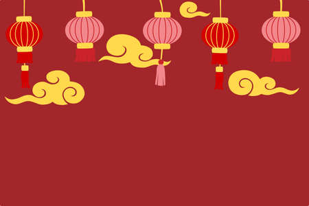 Chinese new year background with and lanterns and golden cloud