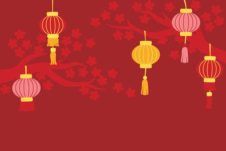 Chinese new year background with lanterns and cherry blossom tree