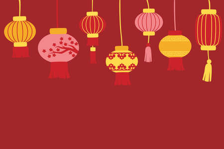 Chinese new year background with and lanterns Illustration