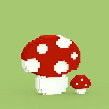 Mushroom 3D generated - colorful Stock Photo