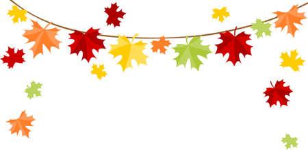 Autumn leaves bunting Illustration