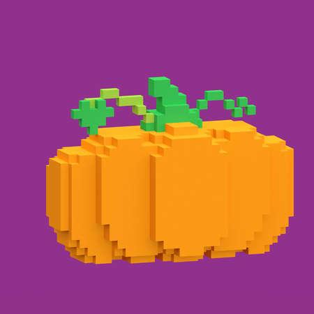 Pumpkin 3D generated on purple background
