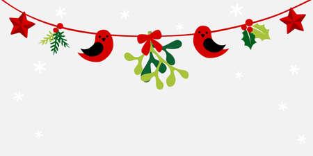 Christmas mistletoe  bunting - colorful