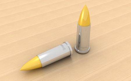 3d bullet: 3d bullet on a wooden background