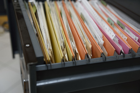 file folder: File folders in a filing cabinet,For document storage Stock Photo
