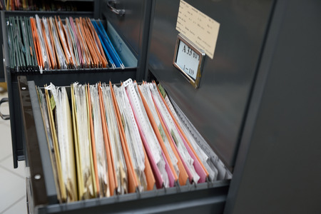 filing document: File folders in a filing cabinet,For document storage Stock Photo