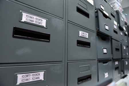 file folders: File folders in a filing cabinet,For document storage Stock Photo