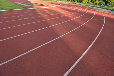 outdoor exercise: Track,Rubber granules red background,For outdoor exercise Stock Photo