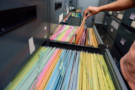 document management: Archive files,office document in load. Stock Photo