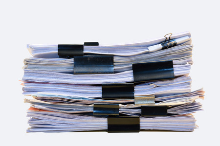 stack of documents: a file folder with documents and important document,isolated Background Stock Photo