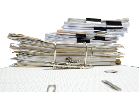 a file folder with documents and important document,isolated Background Stock Photo
