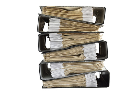 indexed: Documents Files stacked on isolate background Stock Photo