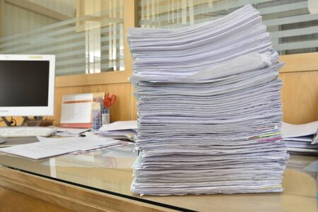 categorize: documents on desk in office Stock Photo