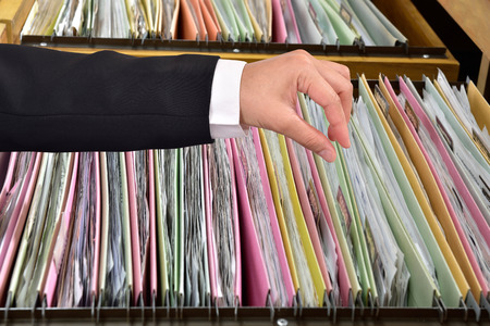 filing system: Storing documents in Office files Stock Photo